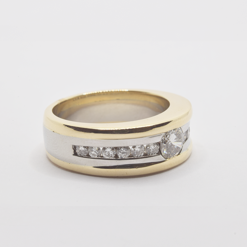 Estate 10KT Yellow and White Gold Ring with Diamonds