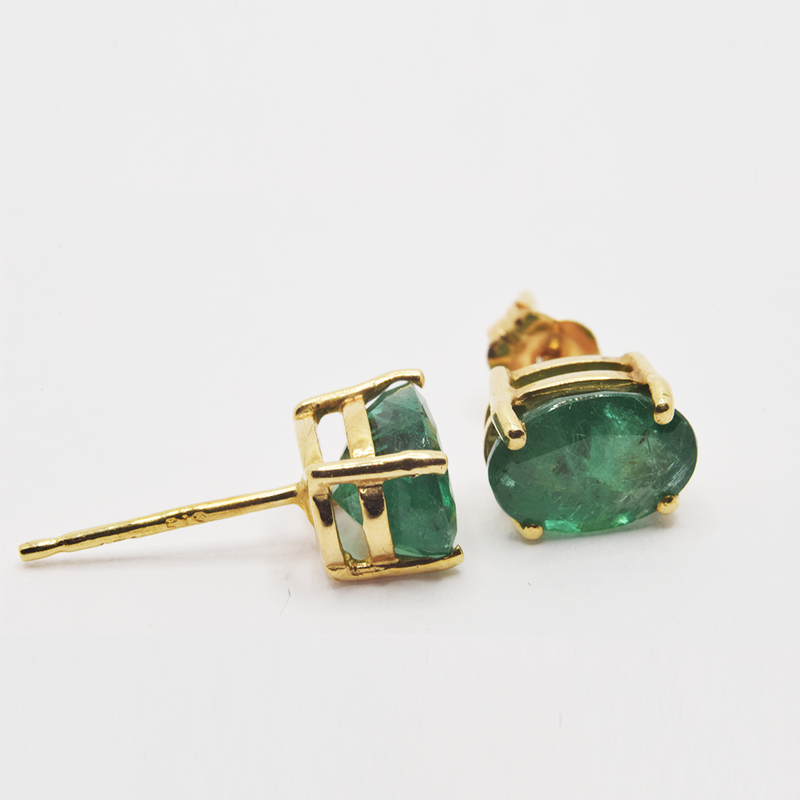 Estate 14KT Yellow Gold Emerald Stud Earrings