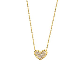 Sterling Silver Yellow Gold Plated Cubic Zirconia Necklace