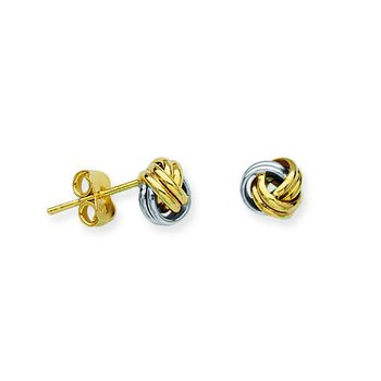 10kt Two Tone Love Knot Earrings
