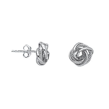 Sterling Silver/Rhodium Plated Love Knot Stud Earrings