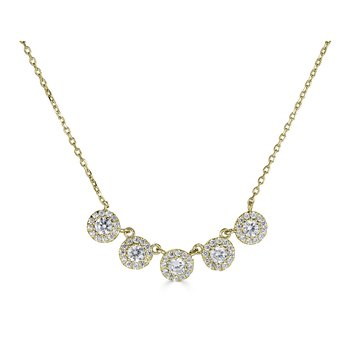 14KT Yellow Gold 0.55tw Diamond Multi 'Halo' Necklace
