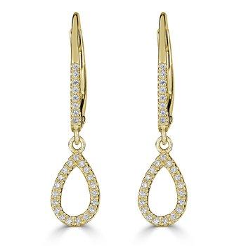 14KT White Gold 0.14tw Diamond Pear Drop Earrings