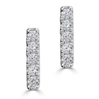 14KT White Gold 0.06tw Diamond Bar Stud Earrings
