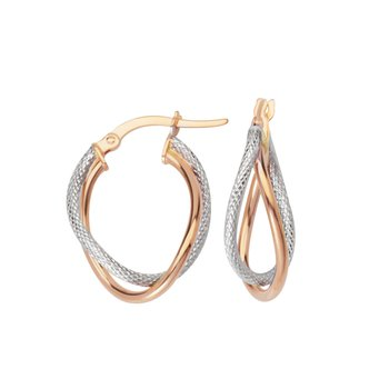 10kt Rose & White Gold twisted Hoop Earrings