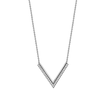 Sterling Silver 'V' Shaped CZ Necklace