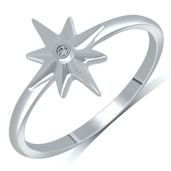 Lady's Star Sterling Silver Diamond Ring