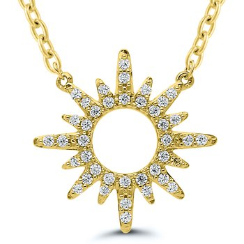 Lady's Sterling Silver/Yellow Gold Plated Diamond Sun Bust Necklace