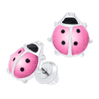 Children's Sterling Silver Pink Enamel Lady Bug Studs