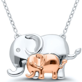 Lady's Sterling Silver/Rose Gold Plated Elephants Necklace With Diamonds
