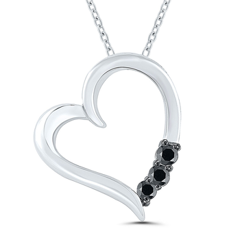 Lady's Sterling Silver and Black Diamond Heart Necklace