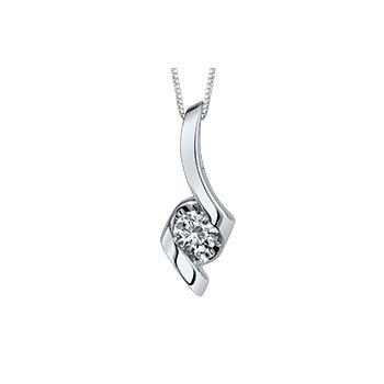 Lady's 10kt White Gold Solitaire Diamond Pendant