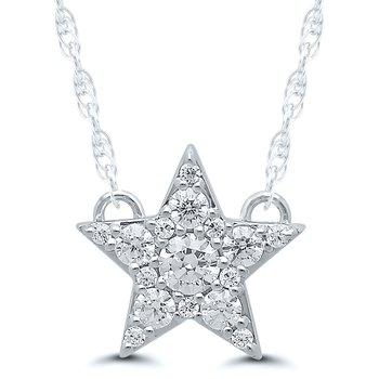 Lady's Star 10kt White Gold Diamond Necklace