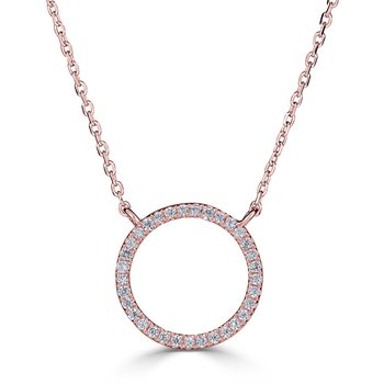 14KT Yellow Gold 0.10tw Diamond Circle Necklace