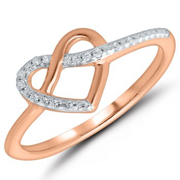 Lady's 10kt Rose Gold Diamond Heart ring