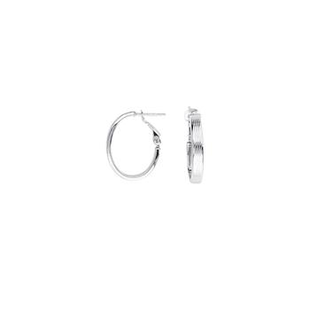 14KT White Gold Ribbed Oval Hoop Earrings