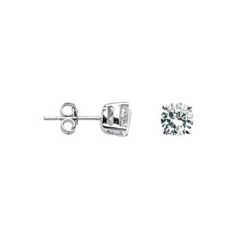 6mm Sterling Silver CZ Stud Earrings
