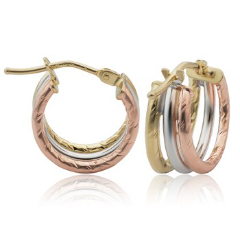 14kt Tri Coloured Hoops