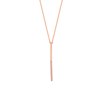 Sterling Silver and Rose Gold Plated CZ Bar Necklace