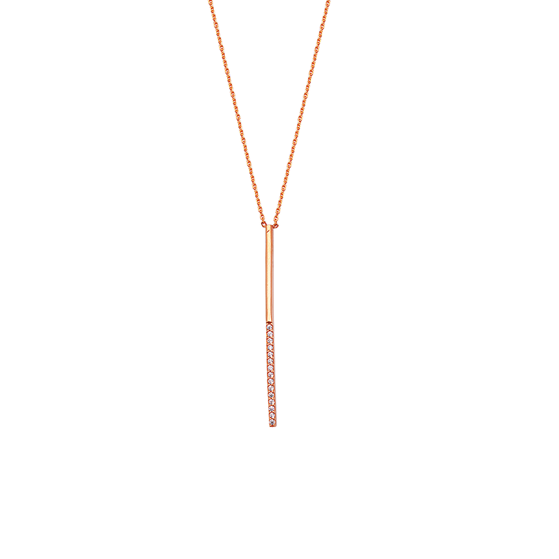 Best Sellers Sterling Silver and Rose Gold Plated CZ Bar Necklace