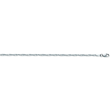 """10"""" Sterling Silver/Rodium Plated Singapore Anklet"""