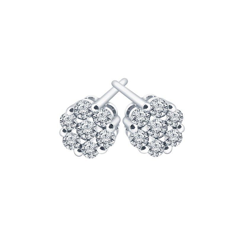 Best Sellers 14kt White Gold Diamond Cluster Studs 0.14ctw