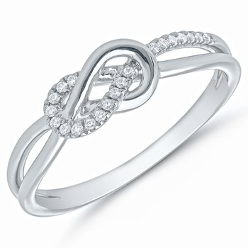 Lady's Infinity Sterling Silver Diamond Ring