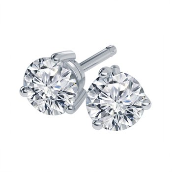 14K White Gold 'Every Love' 89 Facet Diamond Studs .96ctw