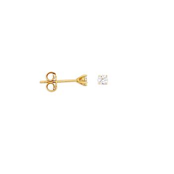 14KT Yellow Gold 3mm CZ Stud Earrings