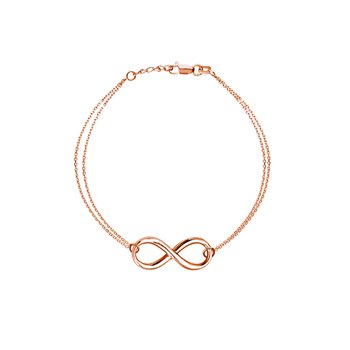 Lady's Sterling Silver/Rose Gold Plated Infinity Bracelet