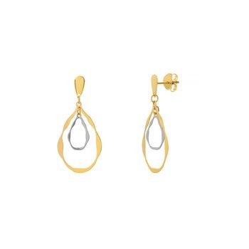 14kt Yellow/White Gold Hoop Drop Earrings