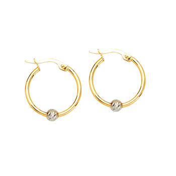 10KT Yellow Gold With White Gold Ball Hoop Earrings