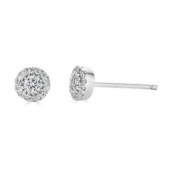 14KT White Gold 'Halo' 0.25cts Diamond Stud Earrings