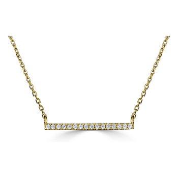 14KT Yellow Gold 0.08tw Diamond Bar Necklace