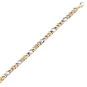"""7.5"""" 14KT Yellow and White Gold Hollow Curb Bracelet"""