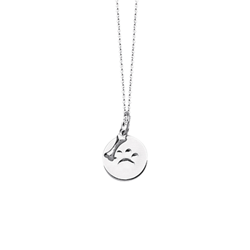 """Sterling Silver """"Paw Print/Bone"""" Pendant and Chain"""