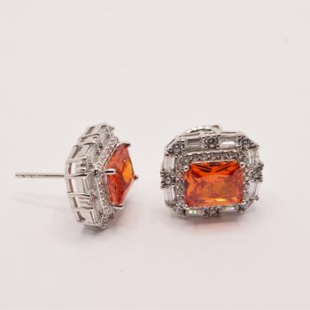Sterling Silver Orange Cubic Zirconia/Cubic Zirconia Earrings