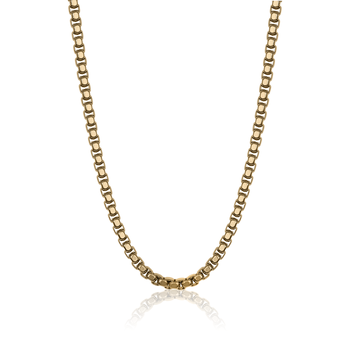 "24"" Yellow Gold Plated Stainless Steel Heavy Box Chain"