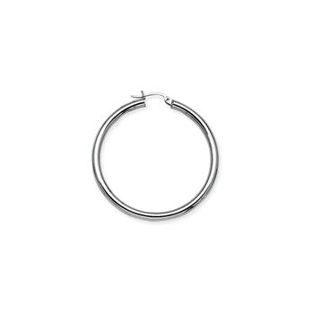 Sterling Silver/Rhodium Plated 35mm Hoop Earrings