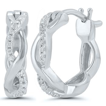 Pair of 10k White Gold Diamond Hoop Earrings