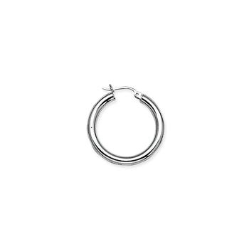 Sterling Silver/Rhodium Plated 25mm Hoop Earrings