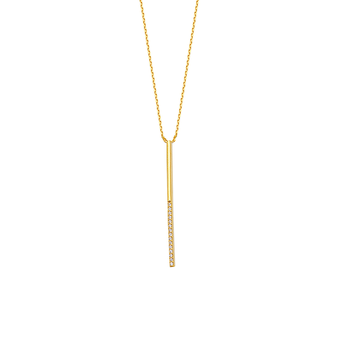 Sterling Silver and Yellow Gold Plated CZ Drop Bar Necklace