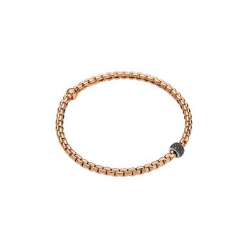 18k Rose / White Gold and Black Diamond Pave Flex'it Bracelet