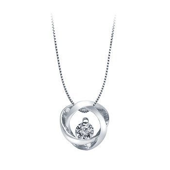 Sterling Silver Time and Eternity 89 Facet Diamond .03ct Pendant
