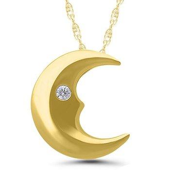 10kt Yellow Gold and Diamond Half Moon Pendant