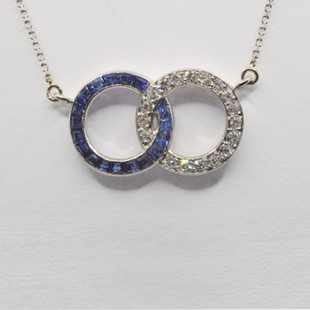 10KT and Platinum Sapphire and 0.36ct Diamond Necklace