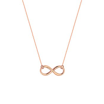 Lady's Sterling Silver/Rose Gold Plated Infinity Necklace