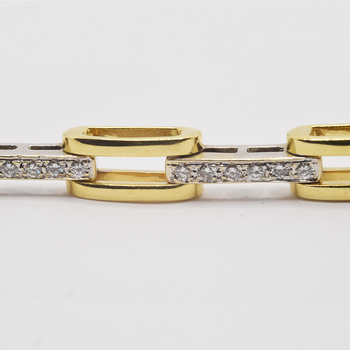 """18KT Yellow and White Gold 7"""" Bracelet with 1.00tw Diamonds"""
