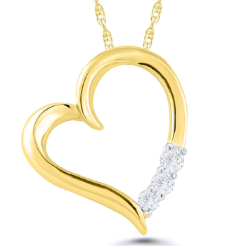 Lady's 10k Yellow Gold and Diamond Heart Necklace