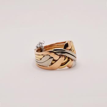 Tri-Gold Puzzle Ring